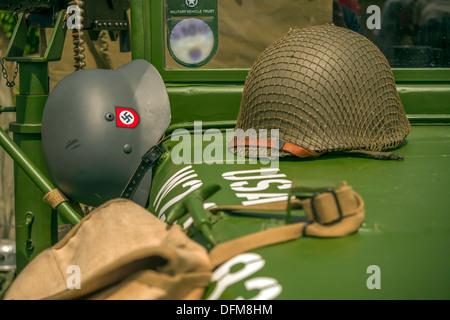War Time Helmet on the military vehicle in festival at Littlehampton, UK - Stock Photo