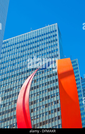 Sweden, Stockholm - Office highrises and art in The City. - Stock Photo