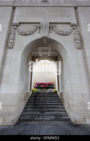 The Menin Gate is one of four memorials to the missing in Belgian Flanders which cover the area known as the Ypres - Stock Photo