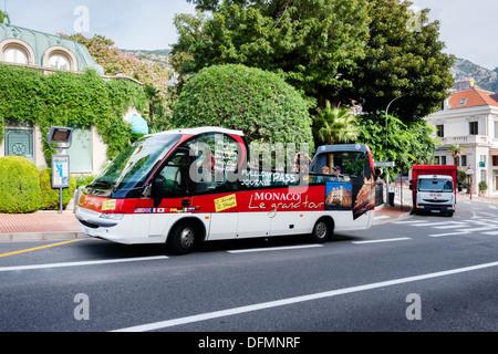 A sightseeing tour bus in Monaco - Stock Photo
