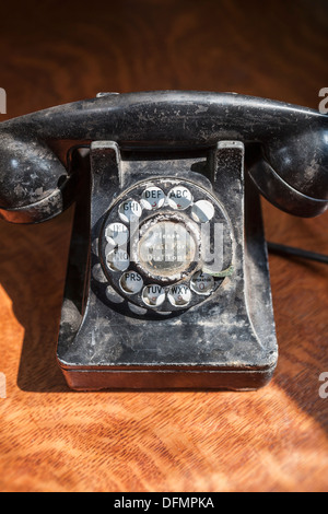 Close-up of antique rotary telephone - Stock Photo