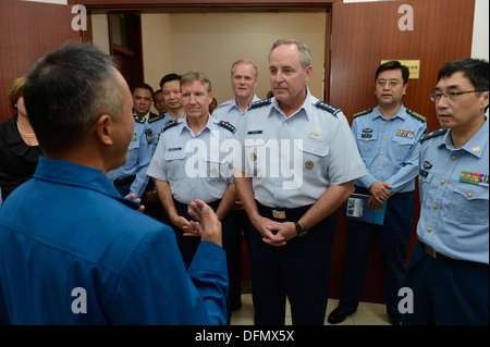 Air Force Chief of Staff Gen. Mark A. Welsh III, Gen. Herbert 'Hawk' Carlisle, Pacific Air Forces commander, and - Stock Photo
