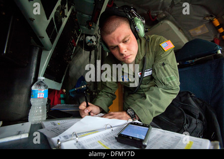 Airman Brian P. Kelley, KC-135R Stratotanker boom operator with the 108th Wing, New Jersey Air National Guard, located - Stock Photo