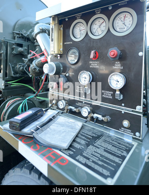 The fuel pump control panel of a 436th Logistic Squadron pump truck shown while fueling a C-5M Super Galaxy. JP - Stock Photo