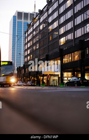 Exterior view at night, Hotel BLOOM, Brussels, Belgium - Stock Photo