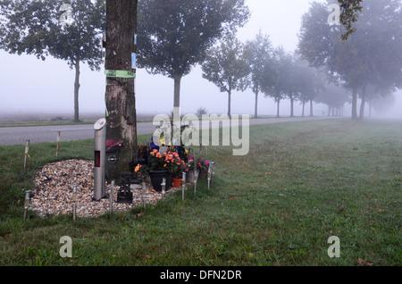 roadside memorial after fatal traffic accident Netherlands - Stock Photo