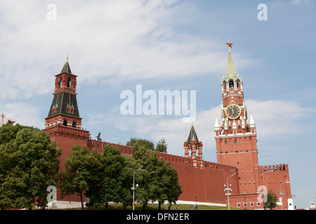 The Saviour's Tower The Tzar's Tower and The Alarm Bell Tower red square Kremlin Moscow - Stock Photo