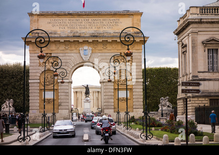 Arc de Triomphe on the Rue Foch built in late 17C in downtown Montpellier Herault Languedoc Roussillon South of - Stock Photo