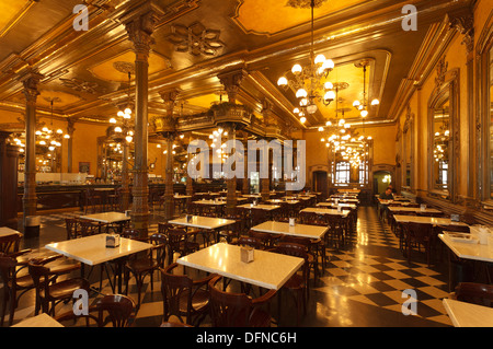Interior view of Cafe Iruna, Plaza de Castillo, Pamplona, Camino Frances, Way of St. James, Camino de Santiago, - Stock Photo