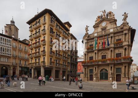 View of the town hall, Pamplona, Camino Frances, Way of St. James, Camino de Santiago, pilgrims way, UNESCO World - Stock Photo