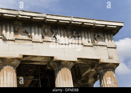 Frieze of The Temple of Hephaestus, best-preserved ancient Greek temple, detail, Athens, Greece - Stock Photo