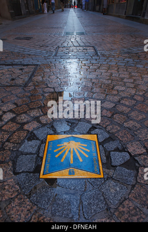 Sign for Way of St. James, Calle de la Tenderia, Bilbao, Camino de Santiago, pilgrims way, Province of Biskaia, - Stock Photo