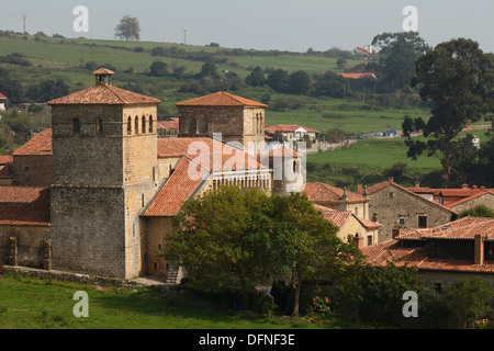 The church Colegiata de Santillana del Mar at the old town, Santillana del Mar, Camino de la Costa, Camino del Norte, - Stock Photo
