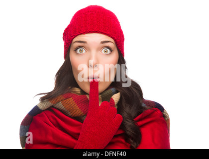 Funny Faced Wide Eyed Mixed Race Woman Wearing Winter Hat and Gloves Isolated on White Background. - Stock Photo
