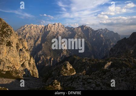 View from the western Picos de Europa, Garganta del Cares, Cares Canyon, peaks of the eastern Picos de Europa, Parque - Stock Photo