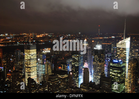 General view of  Northeast Manhattan from the Empire State Building on a stormy night. New York, New York. USA. - Stock Photo