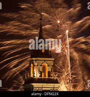 Fireworks, Fiesta de San Froilan, city festival, bell tower, Catedral de Santa Maria de Lugo, cathedral, Lugo, Camino - Stock Photo