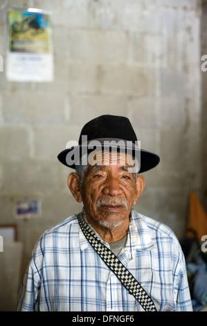 Portrait of Guatemala indigenous man in Santa Catalina Palopo, Solola, Guatemala. - Stock Photo
