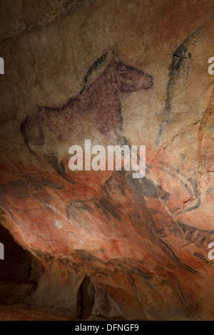 Horses, prehistoric painting, cave painting, about 15000 BC, Cueva de Stock P...