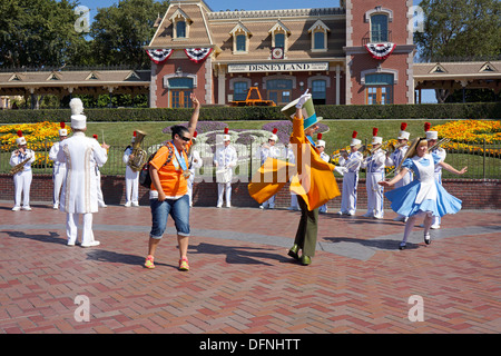 Alice in Wonderland, Mad Hatter, Tourist, Disneyland Resort, Anaheim California - Stock Photo