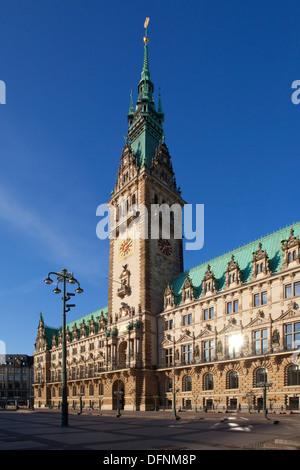Town hall in the sunlight, Hamburg Germany, Europe - Stock Photo
