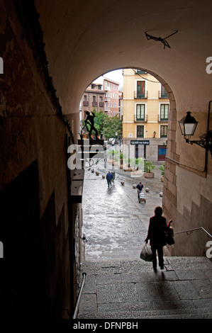 one of gates leading from Plaza Mayor to streets Calle de Cuchilleros and Calle de Cava de San Miguel, The Madrid - Stock Photo