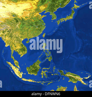 AVHRR natural colour satellite image of Indochina and Japan with shaded topographic relief - Stock Photo