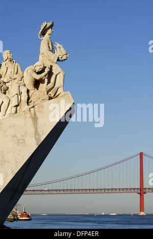 Lisbon Portugal Henry the Navigator stands at the prow of the Monument to the Discoveries Padrao dos Descobrimentos - Stock Photo
