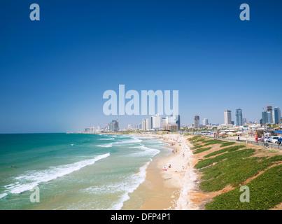 beach in tel aviv in israel - Stock Photo