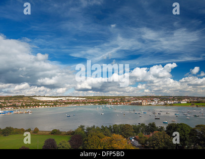 View over Paulsgrove Lake, Portsmouth Harbour. - Stock Photo