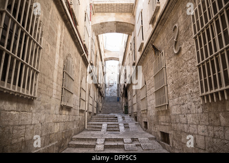 street in jerusalem old town in israel - Stock Photo