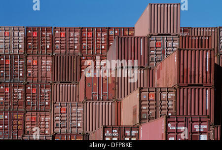 Shipping Containers In Storage Yard   Stock Photo
