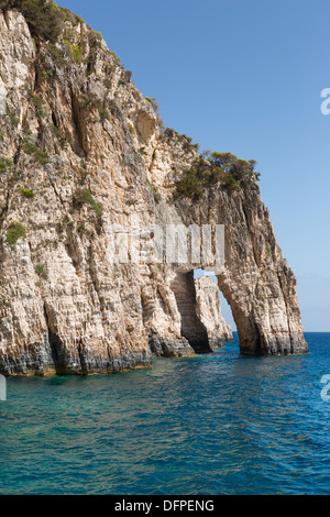 Blue Caves on Zakinthos - the southernmost island of the Ionian archipelago in Greece. - Stock Photo