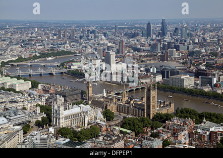 aerial view of Westminster Abbey, The Houses of Parliament, London Eye, Westminster Bridge, South Bank, Thames & - Stock Photo