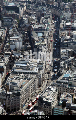 aerial view of Regents Street in London, viewed from Oxford Circus down to Piccadilly Circus - Stock Photo