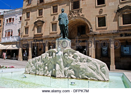 Fountain in the Plaza de Andalucia with shops to the rear, Ubeda, Jaen Province, Andalusia, Spain, Western Europe. - Stock Photo