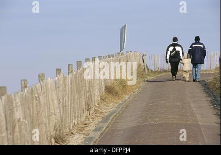 Sea wall protecting Holland from the Atlantic, Zandvoort. Holland - Stock Photo