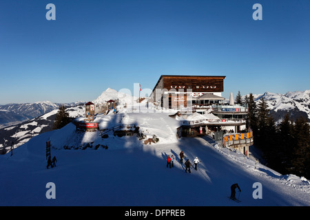 Austria, Tyrol, Kitzbuhel, Hahnenkamm Summit, Kitzbuehler Horn in the background - Stock Photo