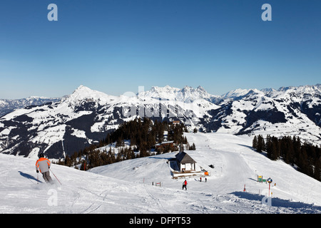 Austria, Tyrol, Kitzbuhel, Hahnenkamm Summit, Kitzbuehler Horn in the background, Kitzbuehler Horn in the background. - Stock Photo
