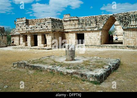 Quadrangle of the Birds in Pre-Columbian mayan ruins of Uxmal. Yucatan, Mexico - Stock Photo