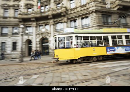 Italy, Lombardy, Milan, Piazza Cordusio, Tramway, Piazza Cordusio - Stock Photo