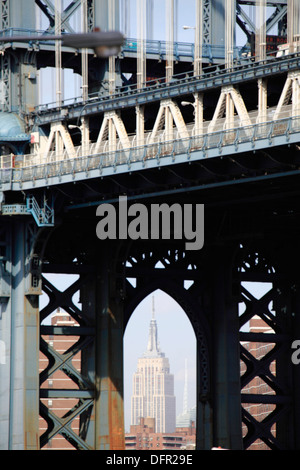 The view of Empire State Building through the arch of the steel tower of Manhattan Bridge in Brooklyn  New York - Stock Photo