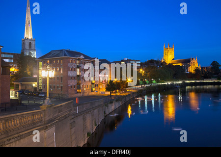 Worcester Cathedral and River Severn at night from Worcester Bridge, Worcester, Worcestershire, England, UK - Stock Photo