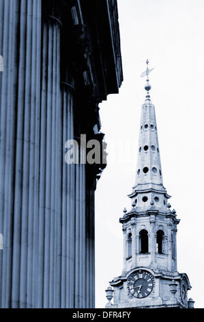 National Gallery and St. Martin in the Fields. London. England - Stock Photo