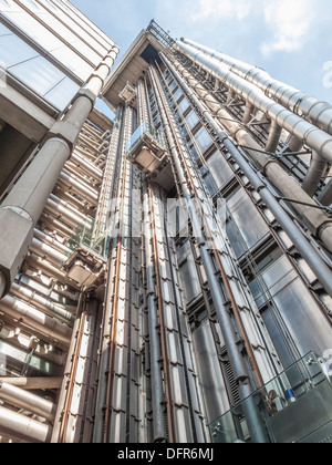 The Lloyd's Building, Lime Street, City of London insurance and financial district, showing its external panoramic - Stock Photo