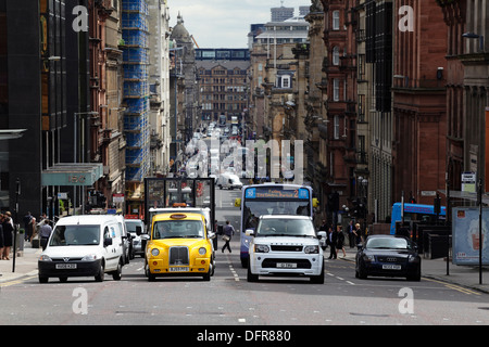 View looking East down St Vincent Street in Glasgow city centre, Scotland, UK - Stock Photo