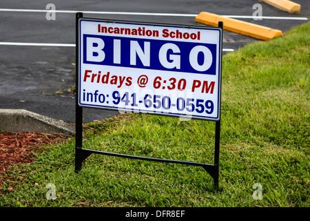 Incarnation Catholic School Bingo sign seen in Sarasota FL