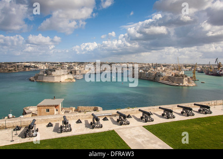 Europe Malta La Valletta Upper Barrakka garden La Vittoriosa Senglea city. - Stock Photo