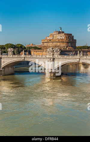 View over the river Tiber to the Castle of the Holy Angel, Castel Sant' Angelo. Rome, Lazio, Italy, Europe - Stock Photo