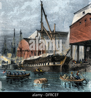 Busy US Navy-Yard in Philadelphia, 1870s. Hand-colored woodcut - Stock Photo
